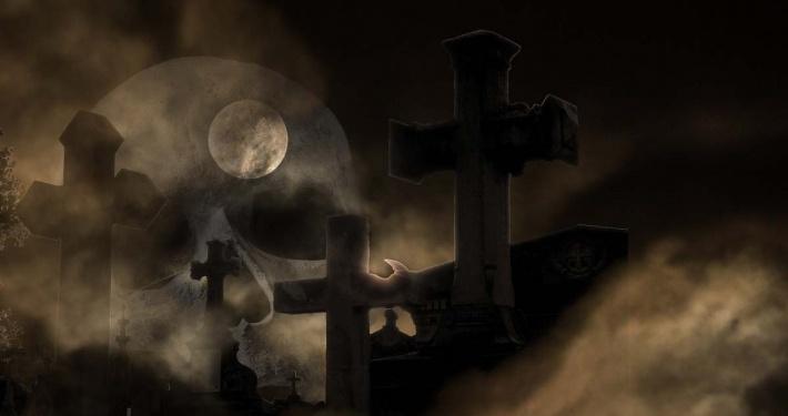 cemetery, crosses, night dark sky