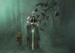 death, crows flying,