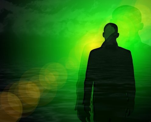 soul, green background with a shadow man